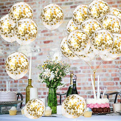 Gold Confetti Balloons, FUNCUBE 30pcs Latex Transparent Balloons 12 inch with Two Ribbons, Party Balloons Perfect for Wedding,Proposal, Bridal Shower,Birthday,Party Rose Gold Party Decorations