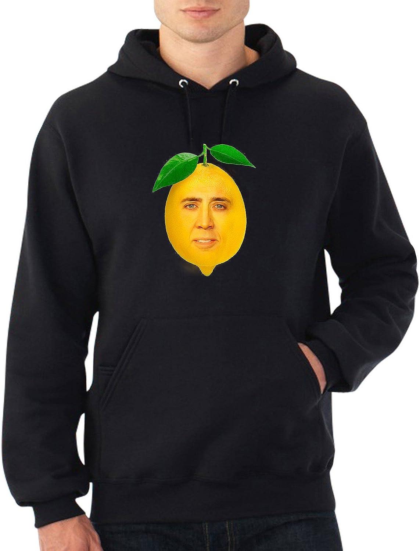 Nicolas Cage Funny Yellow Lemon Fruit Hoodie Felpa con Cappuccio Maglione Sweater Regalo di Natale