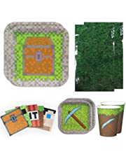 Mining Fun Deluxe Party Packs (70 Pieces for 16 Guests!) Minecraft Inspired Birthday Party Supplies Pixel Party