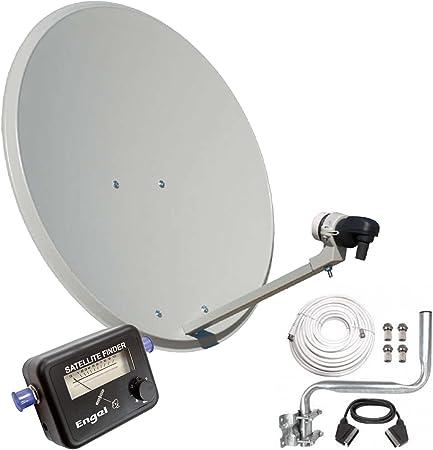 Engel AN0432E - Antena parabólica (80 cm, con soporte pared, LNB y localizador satélite) color negro