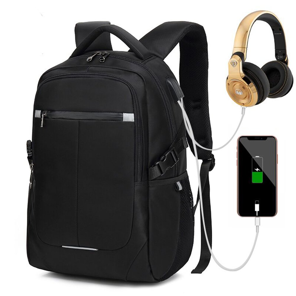Afoxsos Waterproof Business Laptop Backpack - Anti Theft School Computer Backpack with USB Charging Port & Headphone Interface for College/Travel/Men/Women