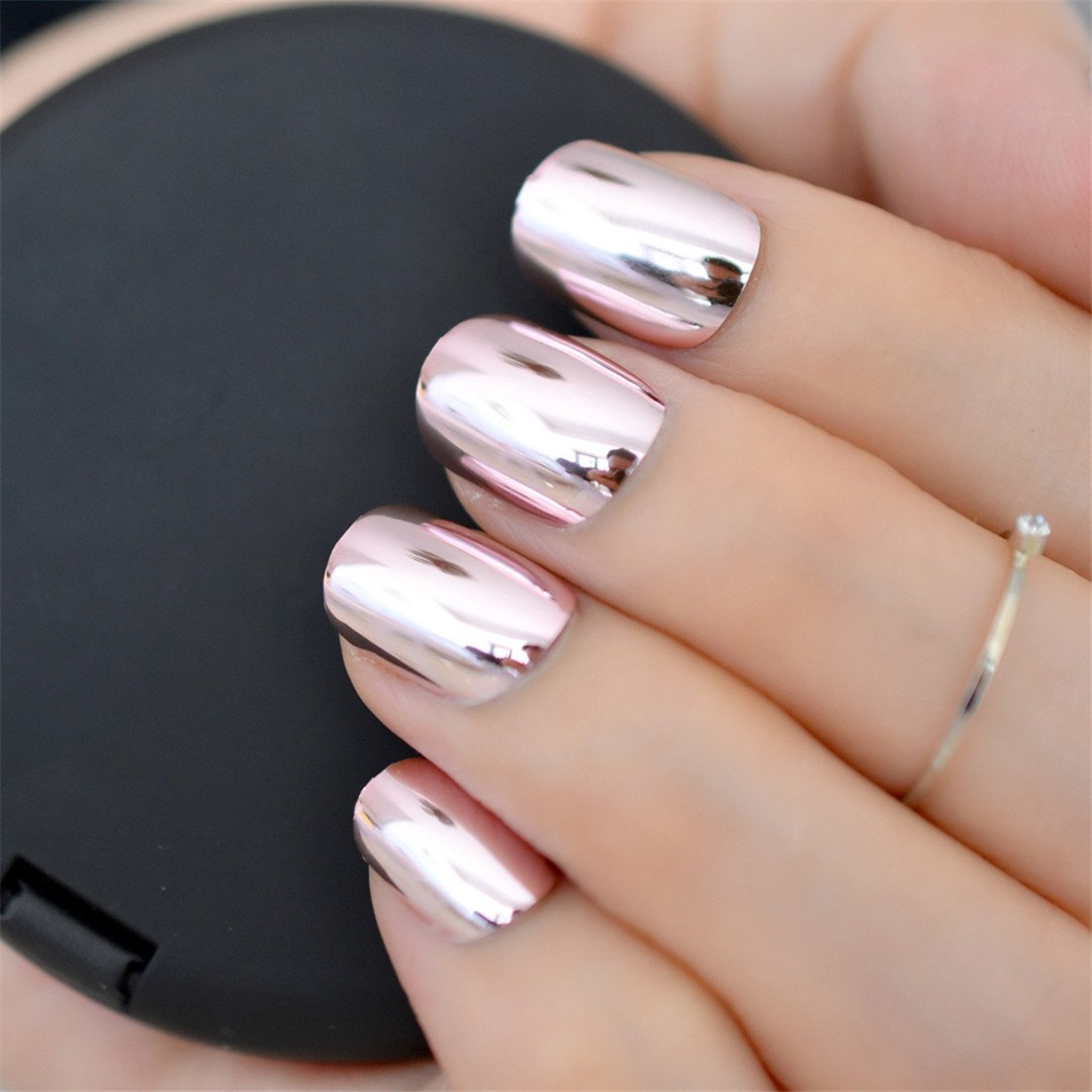 Metallic Mirror Fake Nails Normal Light Pink Ladies Shiny Surface Acrylic Nail Art Tips 24 Pcs/Kit Several Colors For Choose N24