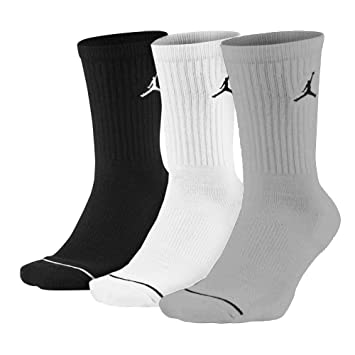 Nike Jumpman Crew 3ppk Socks, Unisex Adulto, Black/White/Wolf Grey, S: Amazon.es: Deportes y aire libre