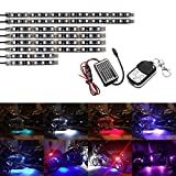AMBOTHER 8Pcs Motorcycle LED Light Kit Strips Multi-Color Accent Glow Neon Lights Lamp Flexible with Remote Controller for Harley Davidson Honda Kawasaki Suzuki Ducati Polaris KTM BMW, 1 Year Warranty
