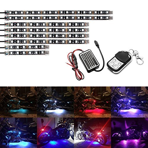ycle LED Light Kit Strips Multi-Color Accent Glow Neon Lights Lamp Flexible with Remote Controller for Harley Davidson Honda Kawasaki Suzuki Ducati Polaris KTM BMW, 1 Year Warranty ()