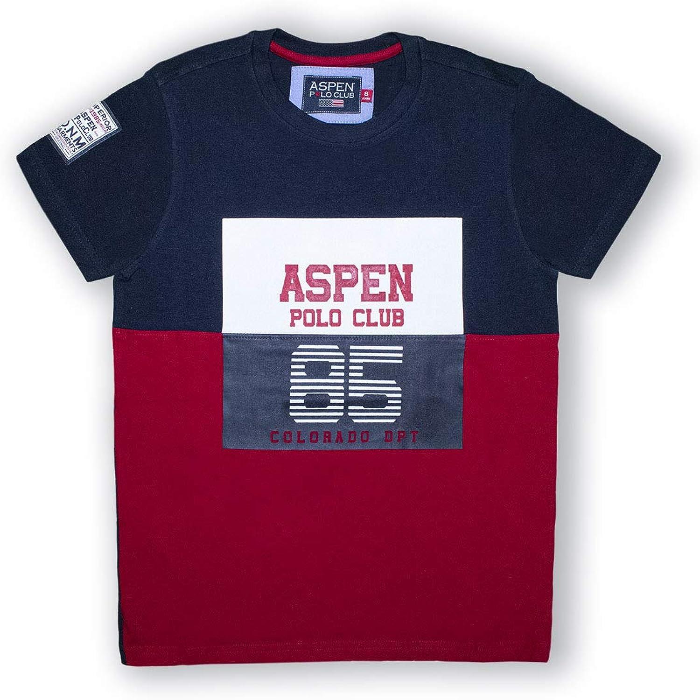 Girocollo e Stampa Frontale Logo Multicolor Aspen Polo Club T-Shirt Maglietta da Bambino Ragazzo in Misto Cotone di Colore Blu e Rosso con Manica Corta