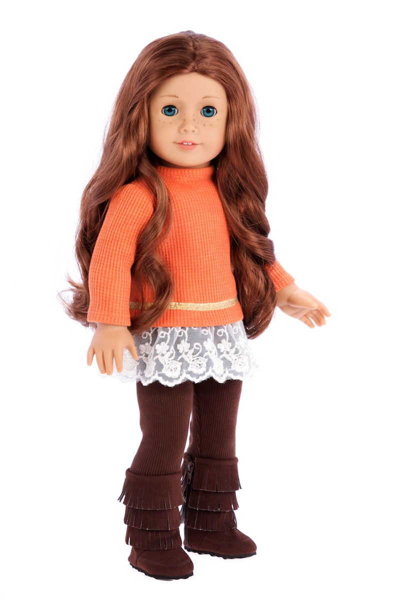 Hello Sunshine - 3 Piece Outfit - Tunic, Leggings and Boots - 18 inch doll clothes (doll not included) DreamWorld Collections