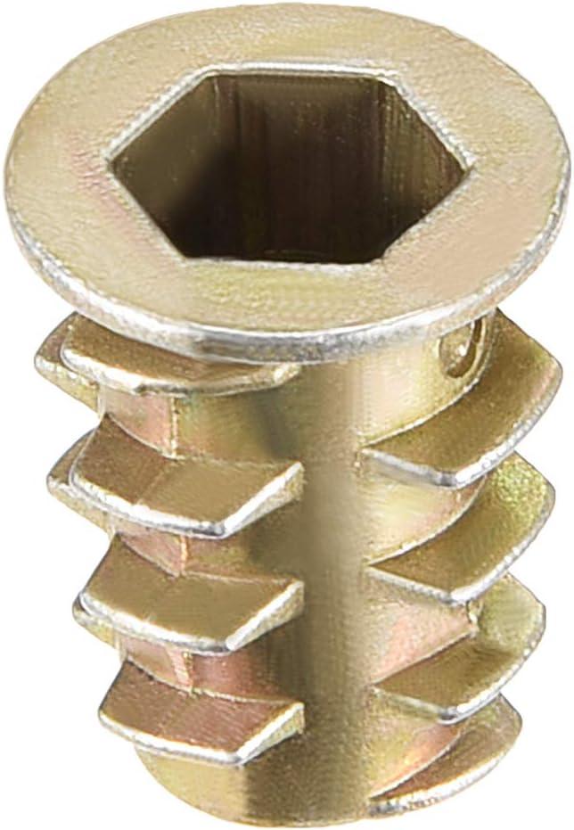 Gewindeeinsatz Nut Zinklegierung Innensechskant Innengewinde 25mm L/änge sourcing map 10Stk