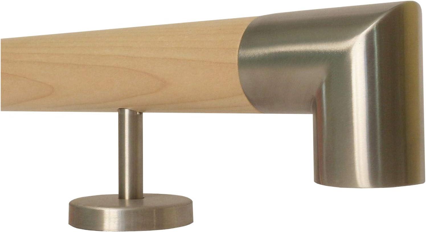 Ahorn Holz Treppe Handlauf Gel/änder Griff gerade Edelstahlhalter 100 cm mit 2 Halter schr/äges Edelstahlendst/ück L/änge 30-500 cm aus einem St/ück//Beispiel