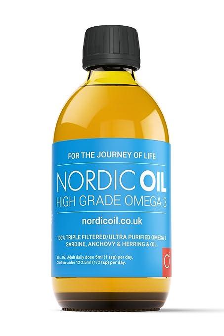Nordic aceite de alta resistencia 250 ml Omega 3 Aceite de Pescado ...