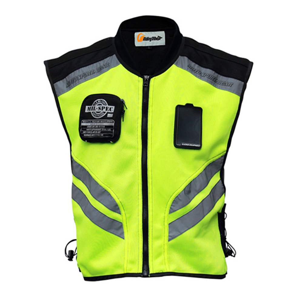 Riding Tribe JK22 Men's Motorcycle Racing Sleeveless Jacket Safety Reflective Vest (4XL-1/2 Chest:20.07'', Green) by Riding Tribe