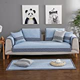 Sofa cover Cotton Sofa slipcover Sectional Vintage Anti-slip Stain resistant Decorative Sofa protector Cushion covers For Living room-blue 70x150cm(28x59inch)