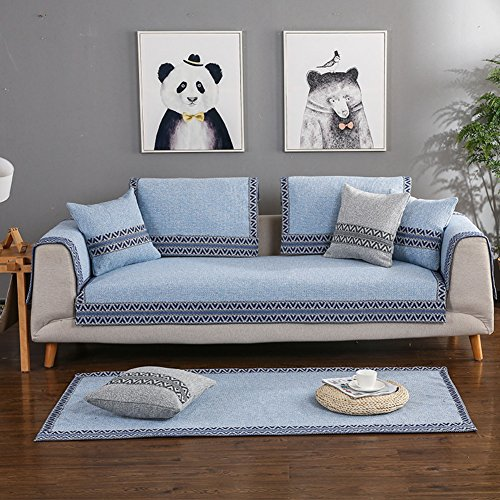 Sofa cover Cotton Sofa slipcover Sectional Vintage Anti-slip Stain resistant Decorative Sofa protector Cushion covers For Living room-blue Pillowcase 45x45cm(18x18inch) by DW&HX