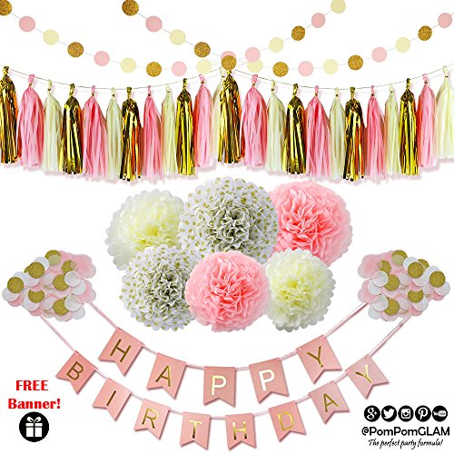 Pink Gold Complete Party Decorations Supplies Kit with FREE Bonus Happy Birthday Bunting Banner By PomPomGLAM
