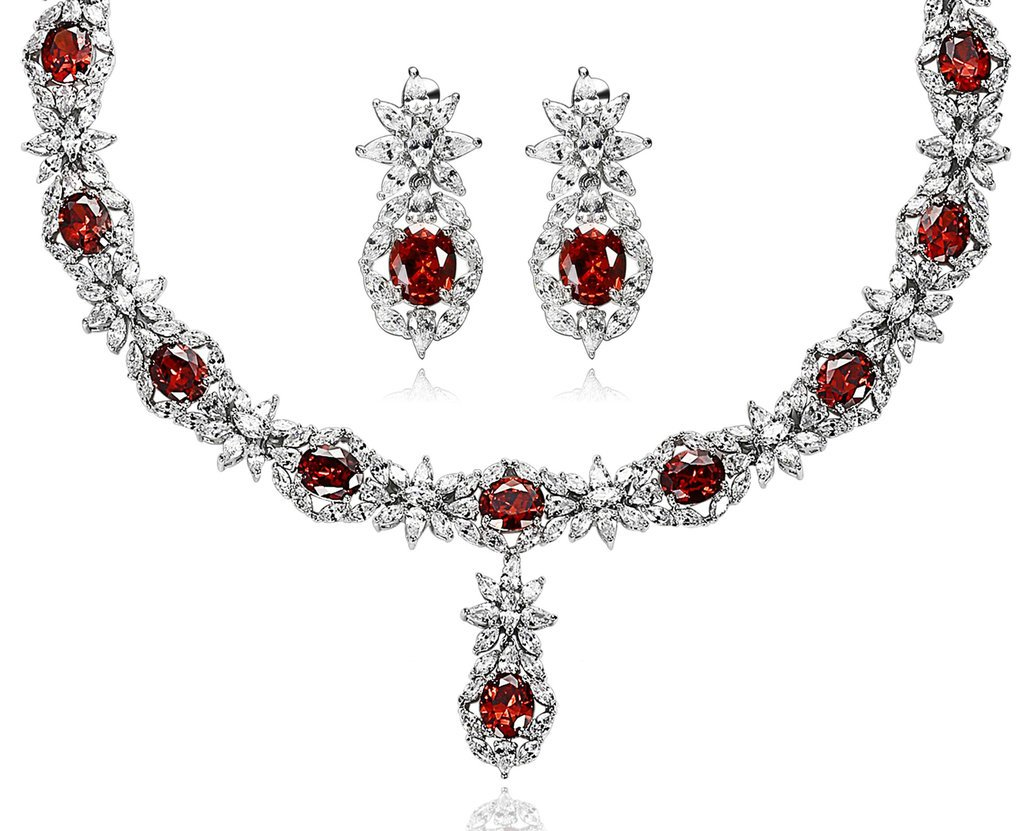 Epinki Silver Plated Jewelry Set, Cubic Zirconia Flower Crystal Red Earring Necklace Sets For Women