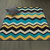 Ottomanson Studio Collection Chevron Waves Design Area Rug, 5'0″ X 6'0″, Blue & Grey For Sale