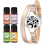 Wild Essentials Arbol Tree Aromatherapy Diffuser Bracelet 17-PieceGift Set –Includes 4 Pure Essential Oils, Leather Wrap Band