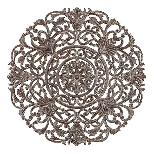 Madeleine Home Frasso Ornate Wall Medallion | Hand Carved Wall Plaque, Contemporary Accent Home Décor with Intricate Scroll-Work Baroque Design | 35