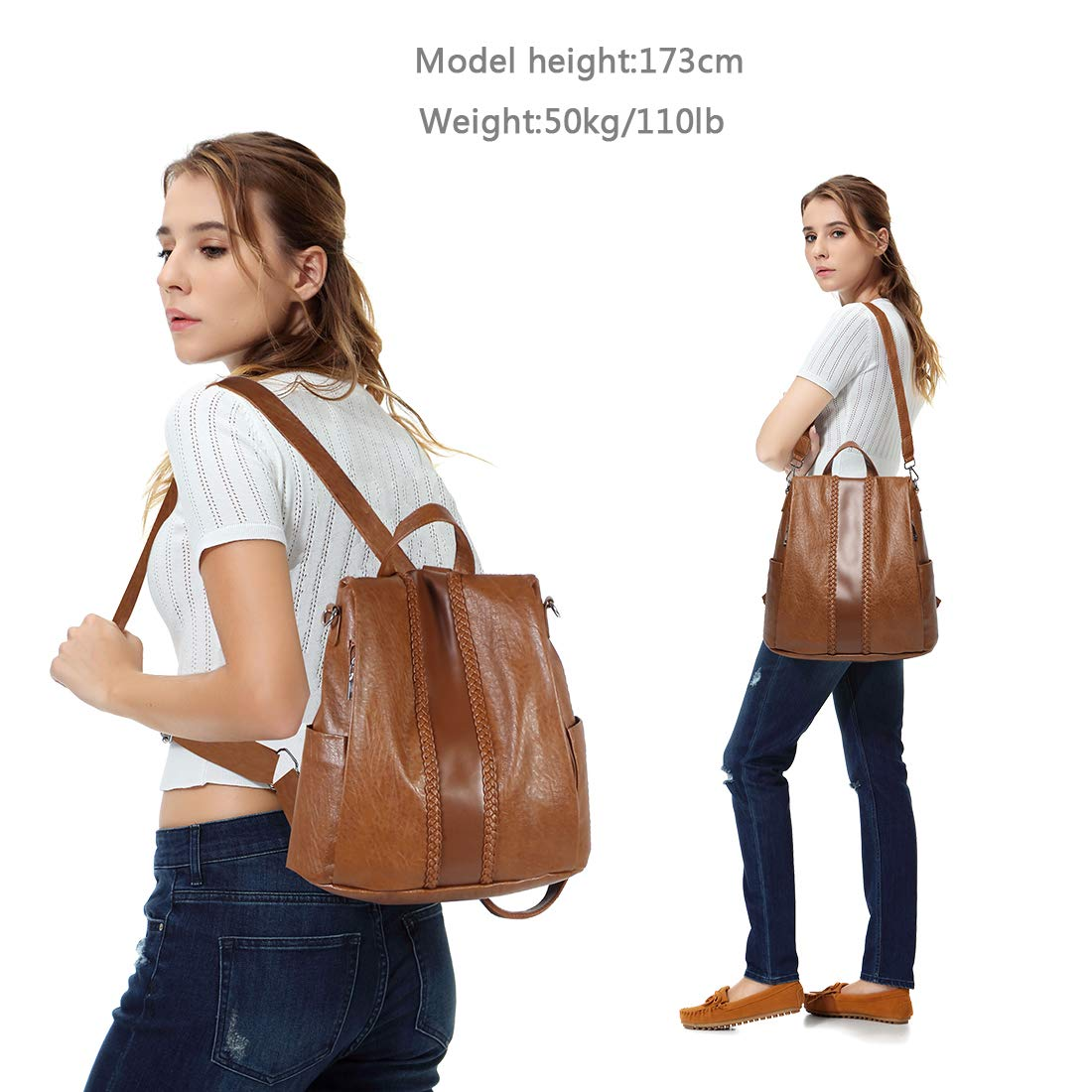 Backpack Purse for Women,VASCHY Fashion Faux Leather Convertible Anti-theft Backpack for Ladies with Vintage Weave Brown by VASCHY (Image #2)
