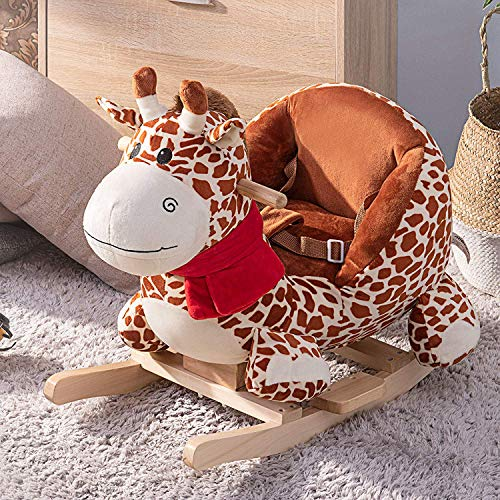 - P PURLOVE Stuffed Animal Rocking Horse, Ride on Horse Giraffe Rocker for Kids, Plush Rocking Animals w/Seat Belt & Wood Handle, Child Birthday Gift (Brown Deer)