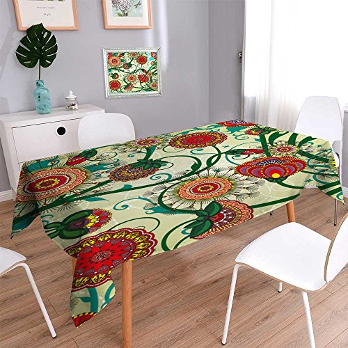PRUNUSHOME Linen Water Resistant Tablecloth Beautiful floral