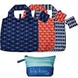 rockflowerpaper Navy Red Printed Transport Travel Blu Bag Pack of 3 Reusable Grocery Shopping Bag, Eco-friendly Convenient Machine Washable Everyday Totes