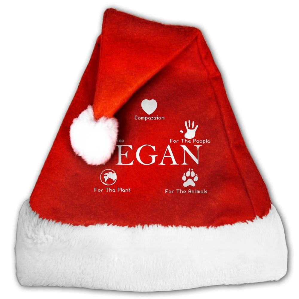 Vegan Peace Compassion Plant Animals Christmas Hat Velvet Santa Hat S Size For Kid,M Size For Adult