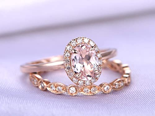 14k solid rose gold stackable hammered ring with 0.71 ct 7x5 oval shape natural AAA pink morganite.