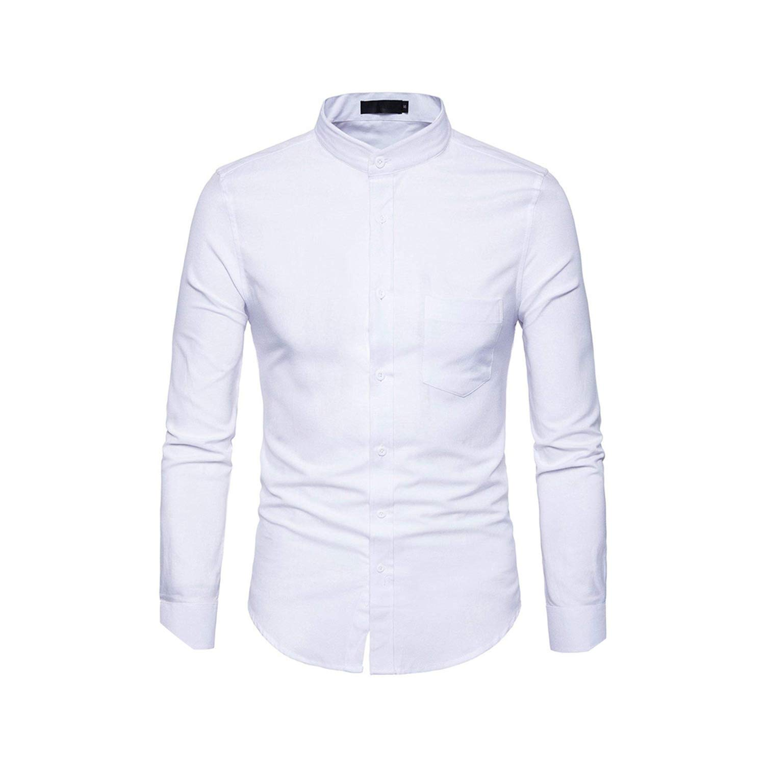 disiren Mens Dress Shirts Stand Collar Chemise Casual Slim Fit Long Sleeve