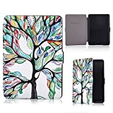 HAOCOO Ultra Slim Leather Smart Case Cover Build in Magnetic [Auto Sleep/Wake] Function for All-New Amazon Kindle Paperwhite (Tree of Life)