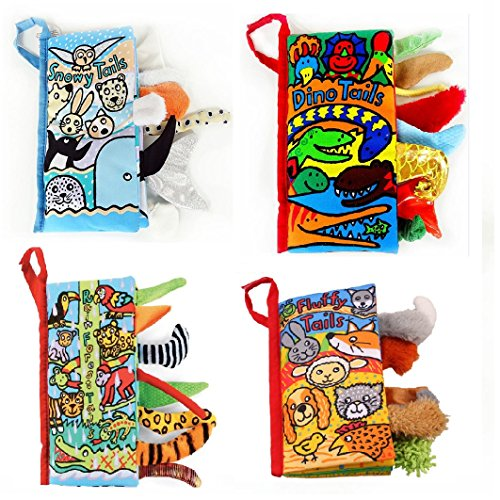 Kemilove Set of 4 Animal Tails Cloth book Baby Toy Cloth Development Books Learning & Education books, Rainforest Tails, Snowy Tails, Dino Tails,Fluffy Tails