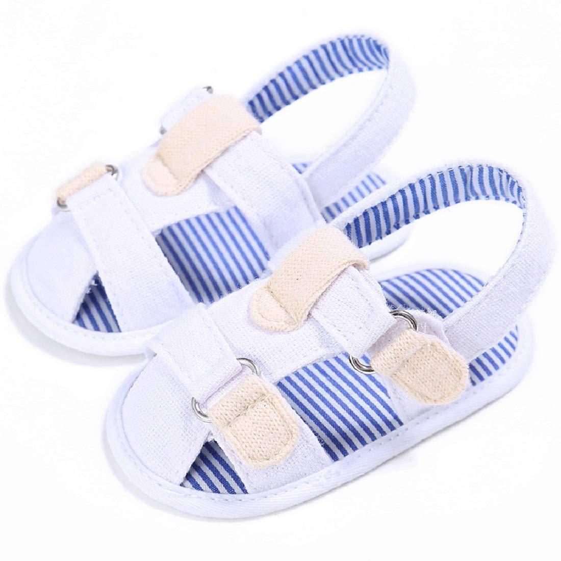 Baby Sandals FAPIZI Canvas Boys Cute Crib Shoes T-Tied Soft Prewalker Soft Bottom Toddler Shoes