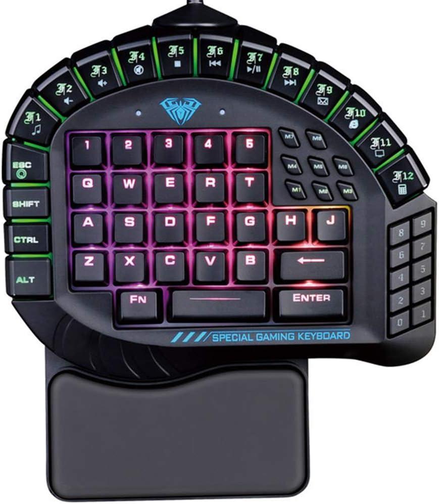 DJG Gaming Keyboar Single Hand Macro RGB Backlit Mechanical Keyboard Blue Switch Game Gamer One Hand Split Mini Gaming Keyboards Computer