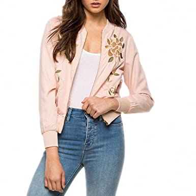 Casual Slim Long Sleeve Coat Chaquetas Pink Floral Embroidery Zipper Biker Outwear Chic Crew Neck Bomber