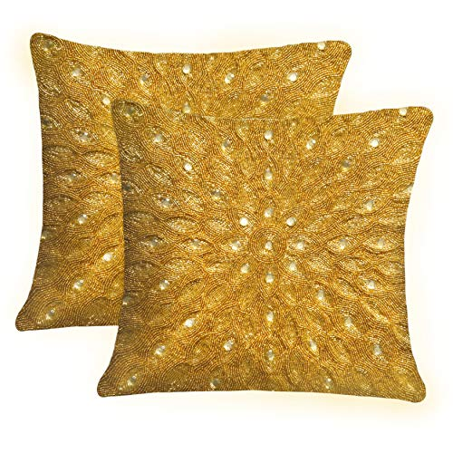 COTTON CRAFT - 2 Pack - Peacock Hand Beaded Decorative Pillow Cover - 16x16 - Gold - Meticulously & lovingly Handmade by Skilled Craftsmen - Cover only