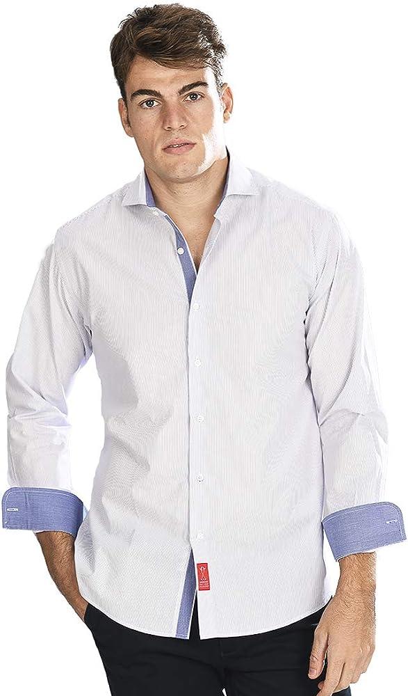 Camisa Manga Larga Blanca de Vestir, semientallada con Rayas Finas en Color Azul Marino para Hombre - 2_S, Azul Marino: Amazon.es: Ropa y accesorios