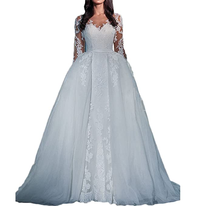 Amazon.com: thrsaeyi Mujer Mangas largas vestidos de boda ...
