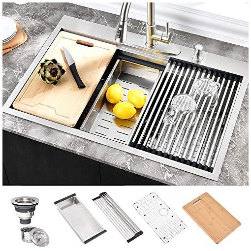 Kitchen 28 inch Drop in Kitchen Sink, HOSINO Handmade Stainless Steel Sink, 16 Gauge Single Bowl Kitchen Sink Double Ledges… modern kitchen sinks