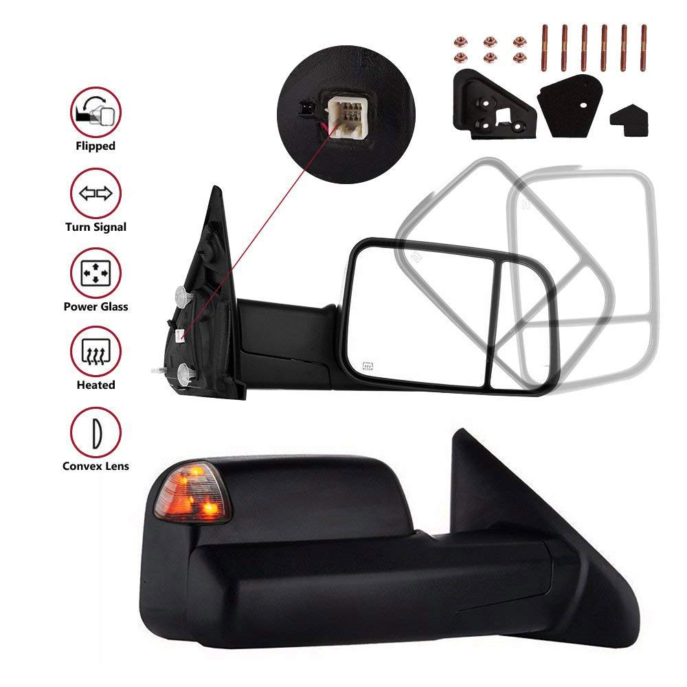 MOSTPLUS Towing Mirror For 1998-2002 Dodge Ram Power Heated Mirror w/Turn Light) by MOSTPLUS