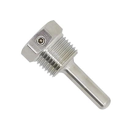 1/2 pulgada - Vaina protectora para sonda sensor acero inox inoxidable 304 con Tornillo de bloqueo inmersión de 30 50 100 200 300 400 500mm (30mm)