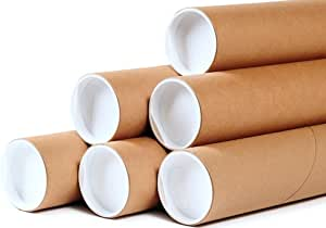 "Premium Kraft Cardboard Mailing Tubes - 4"" x 36"" - 4"" Opening Diameter 36"" in Length - Case of 12 Shipping Tubes with White End Caps (4x36)"