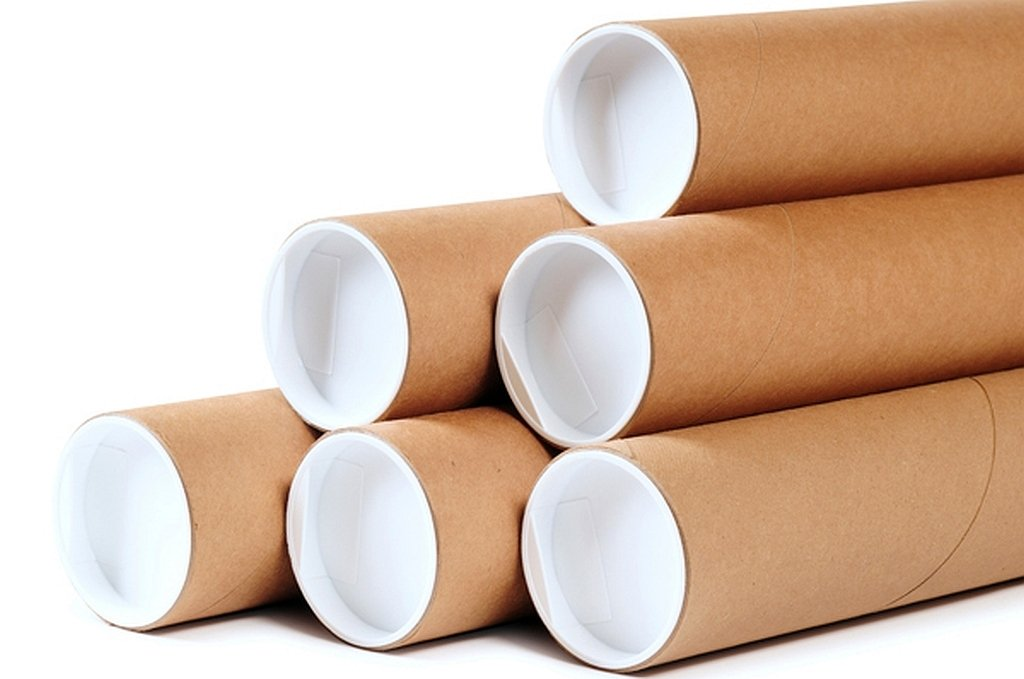 Premium Kraft Cardboard Mailing Tubes - 1-1/2'' x 48'' - 1.5'' Opening Diameter 48'' in Length - Case of 50 Shipping Tubes with White End Caps (1.5x48)
