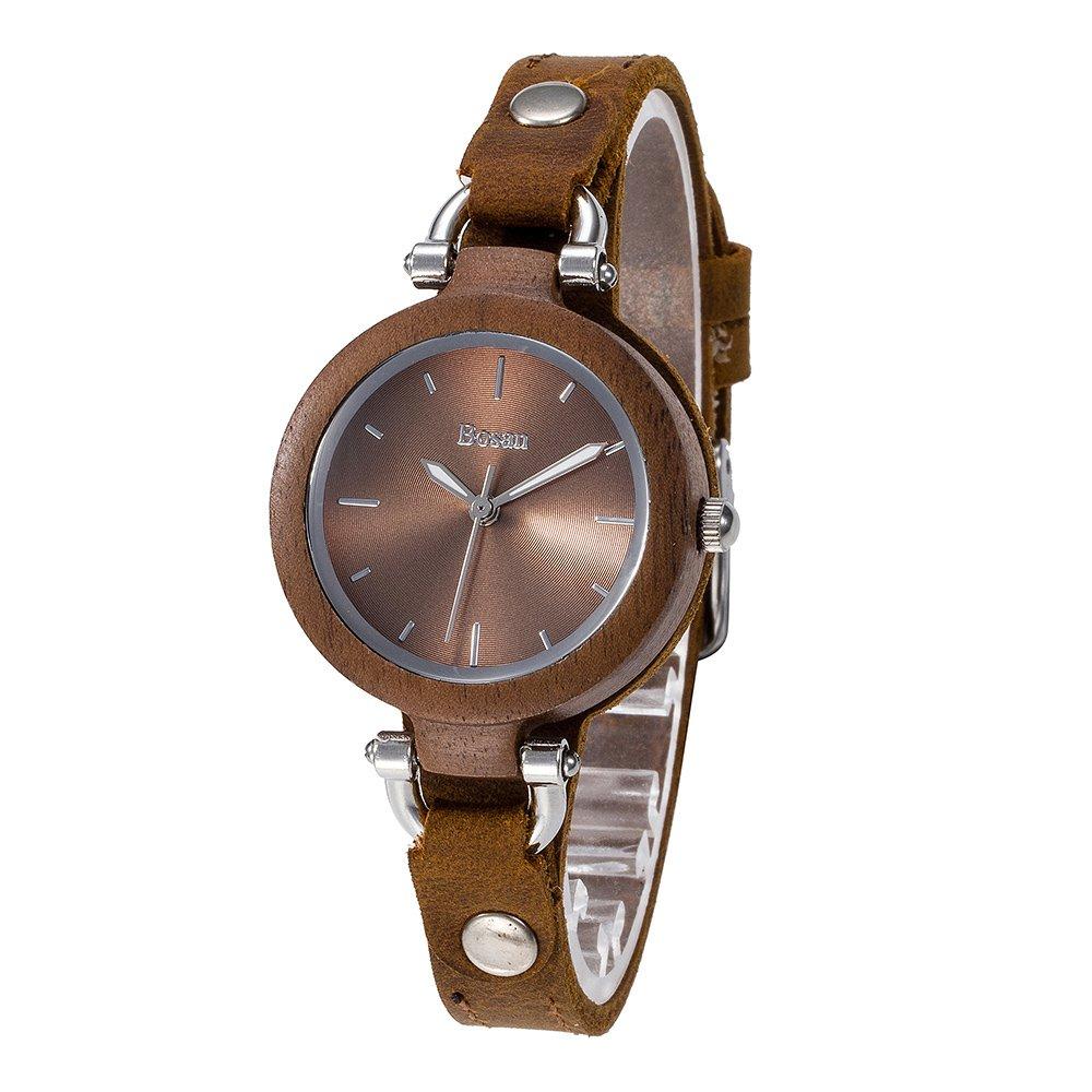 Wood Watch,Bosan Women Cauual CD Line Dial Unique Design Wooden Wrist Watch with Light Genuine Leather Strap(Walnut)