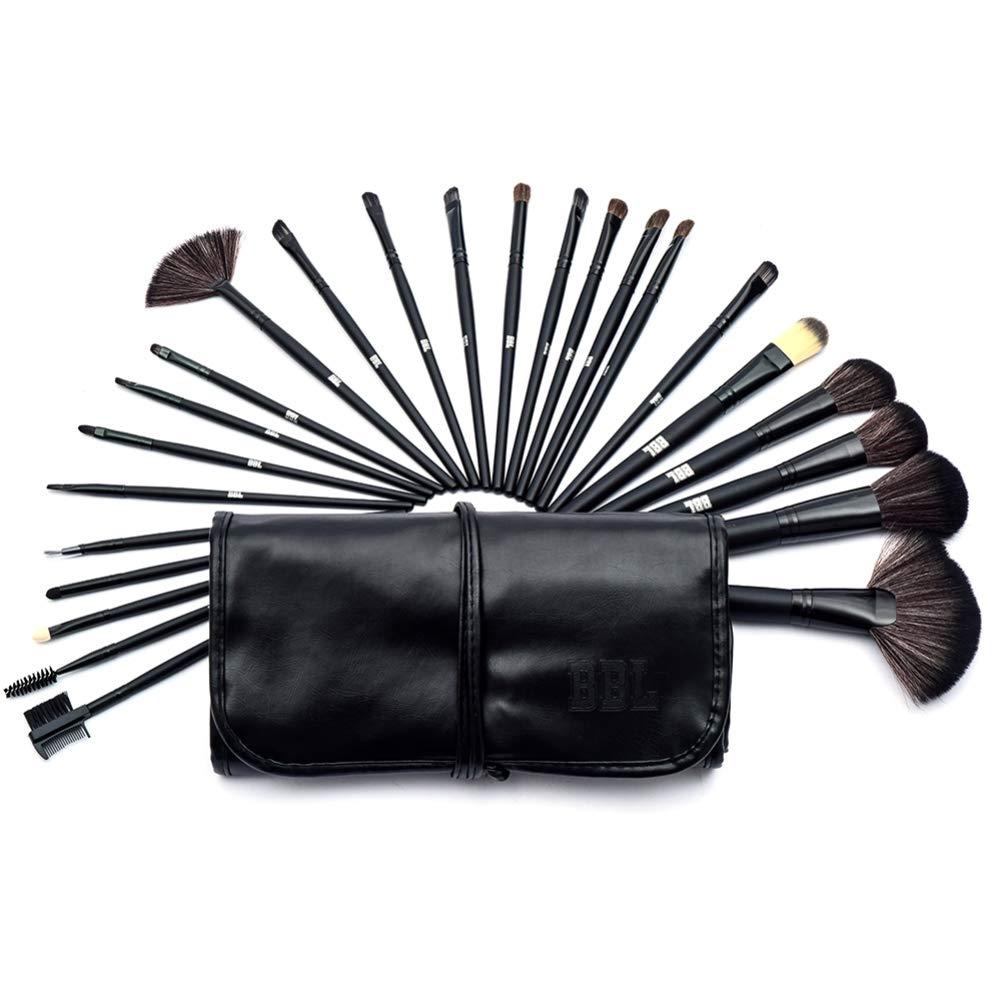 24 Pieces Professional Makeup Brush Set Synthetic Kabuki Foundation Blending Blush Face Eyeliner Shadow Power Brushes Liquid Cream Concealer Lip Cosmetics Brushes Kit (Black)
