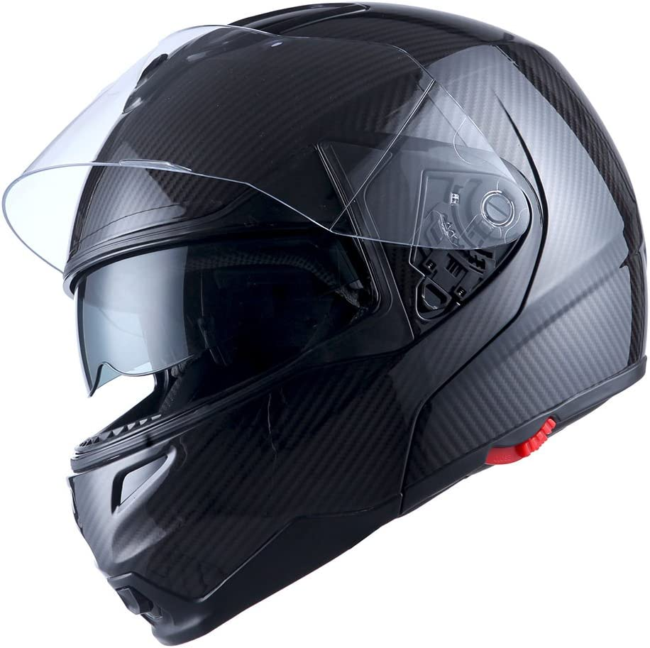 Bluetooth Helmet Carbon Fiber Motorcycle Modular Flip Up Full Face Dual Visor