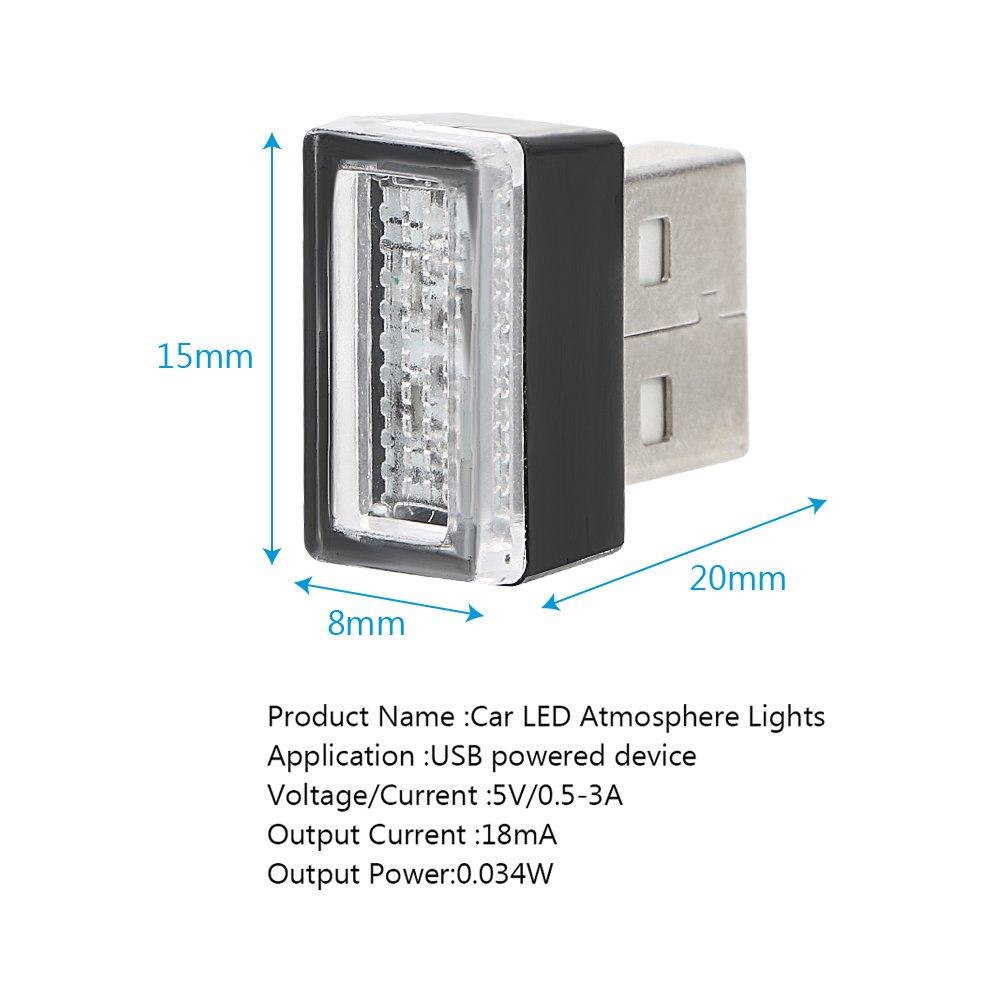 PC-Dekoration iTimo Auto-LED-Lichter dekorative Lampe tragbare Notbeleuchtung Rot mit USB-Buchsen