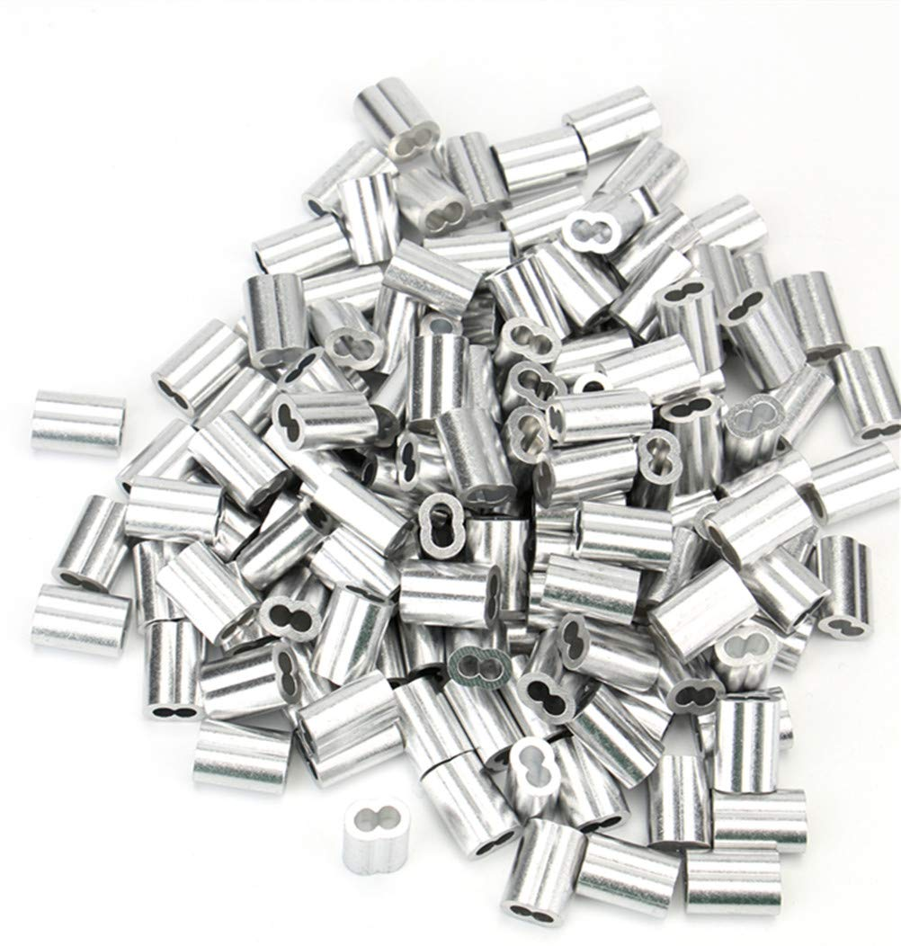 Tebery 150 Pcs Aluminum Crimping Loop Sleeve for 1//8 Diameter Wire Rope and Cable