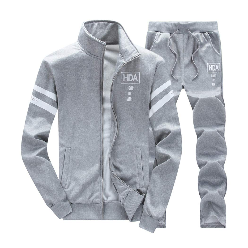 Men's 2 Two Piece Outfits Casual Track Suit Jacket+ Pants Jogger Set Grey by xzbailisha