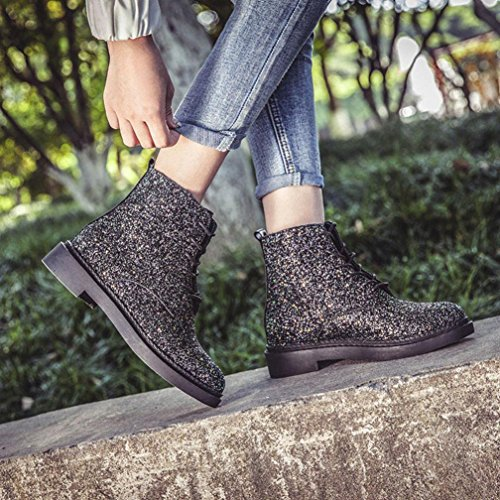 Allacciare Donne Punta Nero Tefamore Stivaletto Signore Moda Le Caviglia Scarpe Rotonda Brillare TFCxRqw
