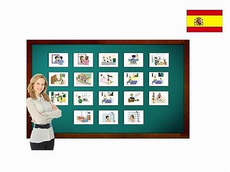 Tarjetas con ilustraciones en español - Rutina diaria - a modo de juego, amplían el